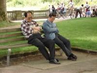 Sie schlafen sogar auf Parkbaenken!